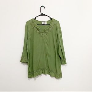 FASHION BUG long sleeve green boho top SZ 18/20